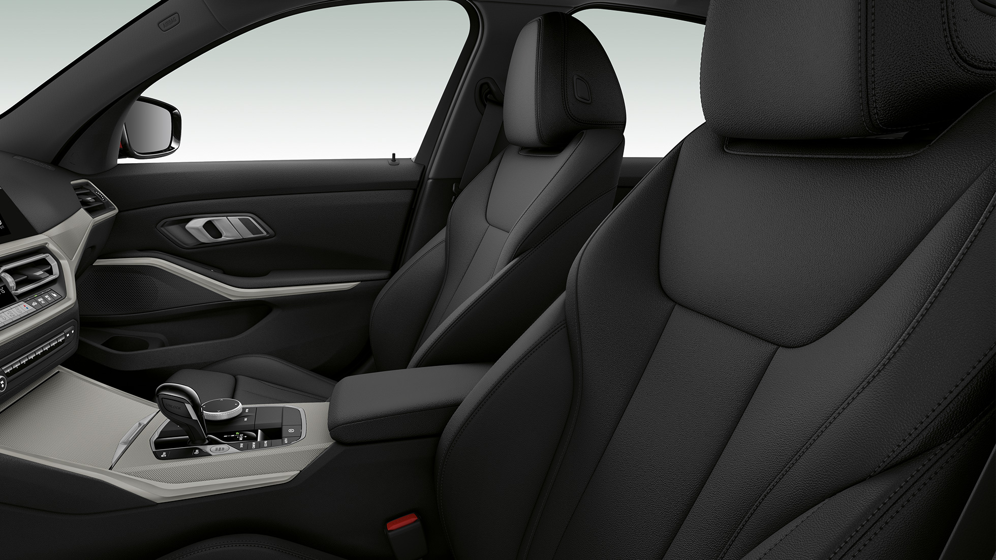 Side close-up of the front seats of the BMW 3 Series Saloon with model SE features.