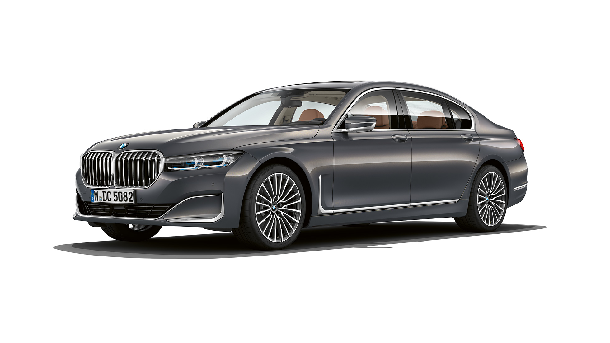 Grey BMW 7 Series Saloon with Exterior Design Pure Excellence in three-quarter front view