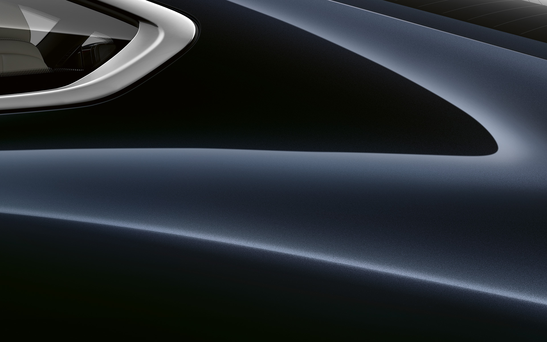 Close-up of the C pillar of the BMW 8 Series Coupé in carbon black metallic.