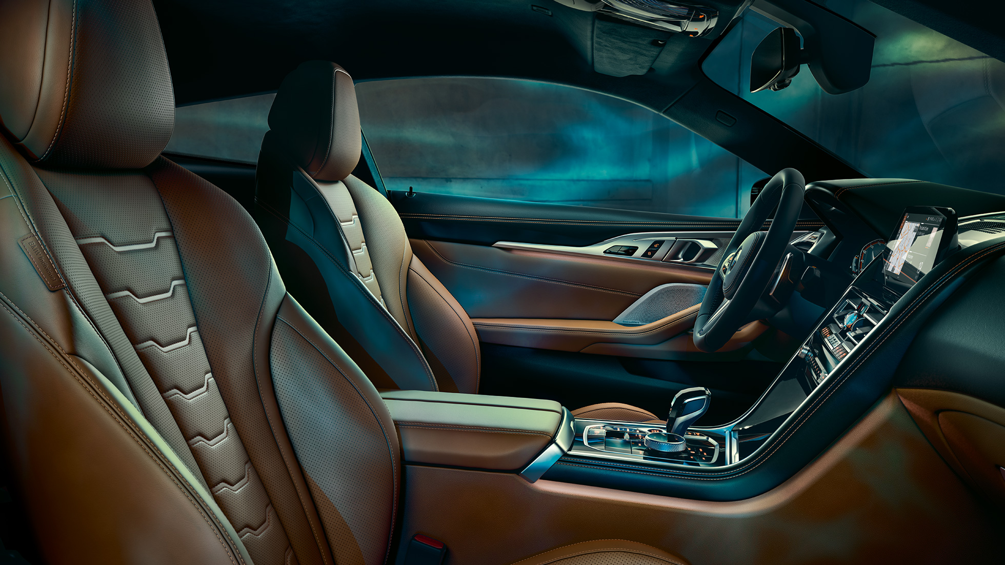 BMW M850i xDrive Coupé, interior with multifunctional seats in BMW Individual extended leather 'Merino' Tartufo/Black.