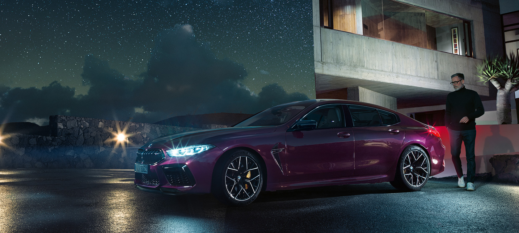 The all-new BMW M8 Competition Gran Coupé 2020 F93 BMW Individual Ametrine metallic three-quarter side view