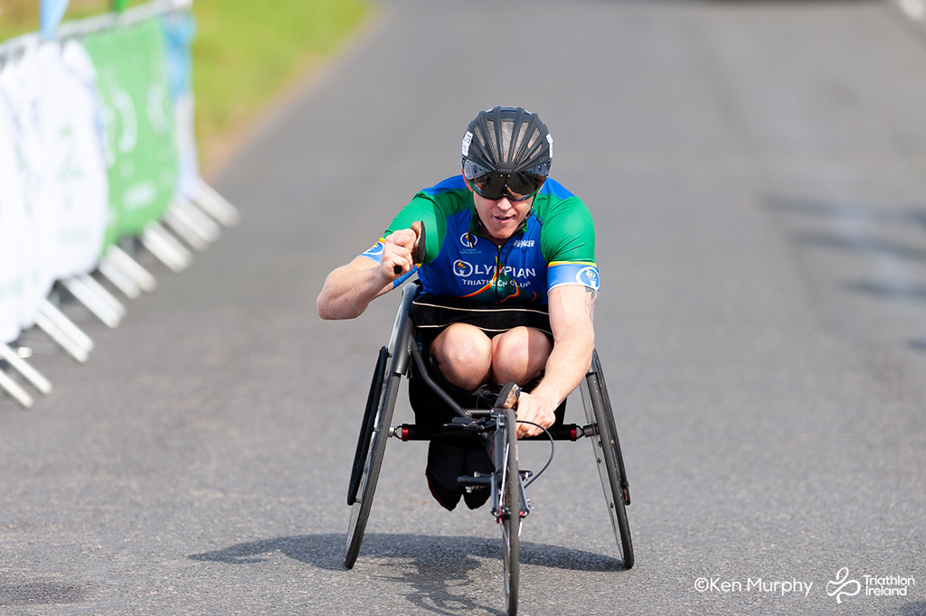 Image of a para participant at the BMW Ireland Triathlon